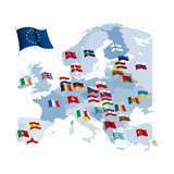 European Country Flags And Map Posters by Hudyma Natallia