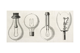 Four Kinds Of Lamp In The Electricity Exposition Of 1882 (Paris): Edison, Maxim, Swan, Werdermann Posters by  marzolino