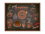 Coffee And Sweets Ads - Blackboard With A Set Of Coffee And Sweets Advertisements Prints by  LanaN.