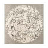 Antique Illustration Of Celestial Planisphere (Southern Hemisphere) With Constellations Premium Giclee Print by  marzolino