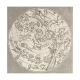 Antique Illustration Of Celestial Planisphere (Northern Hemisphere) With Constellations Affiche par  marzolino