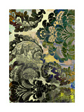 Abstract Textured Background: Black, Blue, And Green Floral Patterns On Yellow Backdrop Prints by  iulias