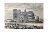 Antique Engraved Illustration Of Notre Dame De Paris, From A Drawing Of Fichot And Gaildrau Art by  marzolino
