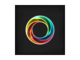 Abstract Bright Circle Infinite Loop Icon On Black Background Prints by Ron Dale