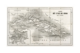 Cuba Old Map With Havana Insert Plan Kunstdrucke von  marzolino