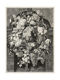 Antique Illustration Of A Mascaron Framed By Flowers: Architectural Decorative Element Poster von  marzolino