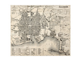 Antique Map Of Palermo, Italy, Bearing 76 Numbered Marks For Places Description Print by  marzolino
