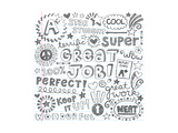 Great Job Super Student Praise Hand Lettering Phrases Back To School Sketchy Notebook Doodle Prints by  blue67