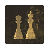 Grunge Illustration Of King And Queen Chess Figures Prints by  pashabo