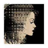 Art Sketched Beautiful Girl Face In Profile With Geometric Ornament Hair On Black Background Poster by Irina QQQ