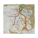French Railways Old Map (End Of 19Th Century) Prints by  marzolino