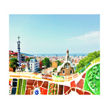 Barcelona, Spain - July 19: Ceramic Mosaic Park Guell On July 19, 2013 In Barcelona, Spain Prints by  Vladitto