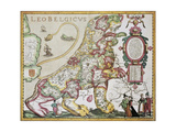 Leo Belgicus: Belgium And Netherlands Old Map In The Form Of A Lion Print by  marzolino