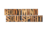 Body, Mind, Soul And Spirit - Vintage Wood Letterpress Printing Block Collage Poster by  PixelsAway