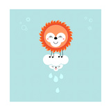 Sun And Cloud In The Sky. Cute Kawaii Animalistic Cartoon Characters Print by  meganeura