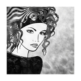 Art Sketched Beautiful Girl Face With Curly Hairs In Black Graphic On White Background Poster by Irina QQQ