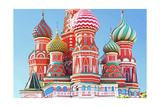 Domes Of The Famous Head Of St. Basil'S Cathedral On Red Square, Moscow, Russia Print by  gelia78