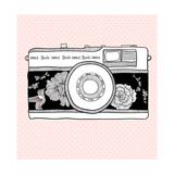 Background With Retro Camera. Photo Camera With Flowers And Birds Premium Giclee Print by cherry blossom girl