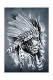 Sketch Of Tattoo Art, Native American Indian Head, Chief, Dirty Background Prints by  outsiderzone