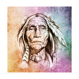Sketch Of Tattoo Art, Portrait Of American Indian Head Over Colorful Paper Poster by  outsiderzone