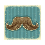 Mustaches Symbol Set On Old Paper Texture.Vintage Background Print by  GeraKTV