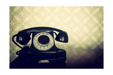 Vintage Old Telephone, Black Retro Phone Is On Wooden Table Over Green Old-Fashioned Wallpaper Poster by  khorzhevska