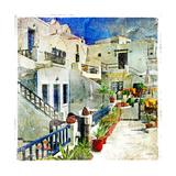 Pictorial Courtyards Of Santorini -Artwork In Painting Style Premium Giclee Print by  Maugli-l