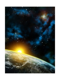 Gorgeous Space Panorama With The Earth, The Sun And Some Nebulas. Digital Illustration Print by  Thufir