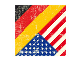 Usa And German Grunge Flag. This Flag Represents The Relationship Between Germany And The Usa Posters by  TINTIN75