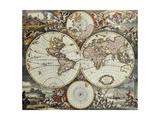 Old Karte von Welt Hemispheres. Created By Frederick De Wit, Published In Amsterdam, 1668 Poster von  marzolino