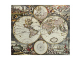 Old Map Of World Hemispheres. Created By Frederick De Wit, Published In Amsterdam, 1668 Poster by  marzolino