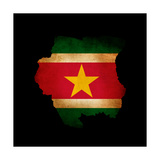 Outline Map Of Suriname With Grunge Flag Insert Isolated On Black Posters by  Veneratio