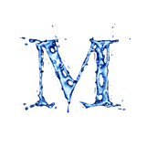 Blue Liquid Water Alphabet With Splashes And Drops - Letter M Posters by  -Vladimir-