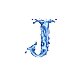 Blue Liquid Water Alphabet With Splashes And Drops - Letter J Prints by  -Vladimir-