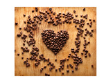 Heart Shape From Brown Coffee Beans, Close-Up On Old Vintage Wooden Background Posters by  ouh_desire