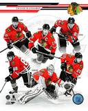 Chicago Blackhawks - Marian Hossa, Jonathan Toews, Patrick Kane, Patrick Sharp, Corey Crawford, Bra Photo