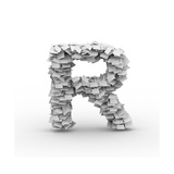 Letter R, Stacked From Paper Sheets Prints by  iunewind