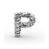 Letter P, Stacked From Paper Sheets Prints by  iunewind