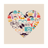 Colorful Vintage Hipsters Love Elements Premium Giclee Print by  cienpies