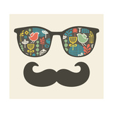 Retro Sunglasses With Reflection For Hipster Premium Giclee Print by  panova