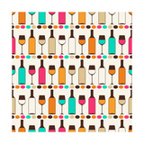 Seamless Retro Pattern With Bottles Of Wine And Glasses Prints by  incomible