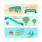 Set Of Horizontal Travel Banners In Retro Style Poster by  incomible