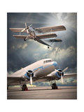 Two Vintage Aircraft On The Runway. Retro Style Picture Prints by  Kletr