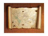 Ancient Scroll Map With Curled Edges Plakater af aelita