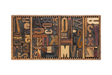 Vintage Letterpress Printing Blocks Abstract With Variety Of Letters, Numbers, Punctuation Signs Prints by  PixelsAway