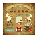Cafe Confectionery Menu Retro Design Prints by  elfivetrov