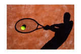 Shadow Of A Tennis Player In Action On A Tennis Court (Conceptual Image With A Tennis Ball Premium Giclee-trykk av  l i g h t p o e t
