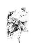 Sketch Of Tattoo Art, Native American Indian Head, Chief, Isolated Posters by  outsiderzone