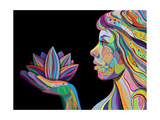 Woman Face With Multicolored Indian Pattern Holding Lotus Flower, Side View, Digital Painting Plakater af shooarts