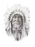 Tattoo Sketch Of Native American Indian Chief, Hand Made Poster by  outsiderzone